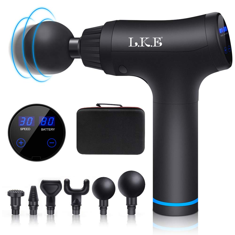Massage Gun,Hand-Held Percussion Muscle Massage Device for Deep Tissue Relaxation Massage LCD Display 30 Speeds Optional Modes with 6 Replaceable Massage Heads
