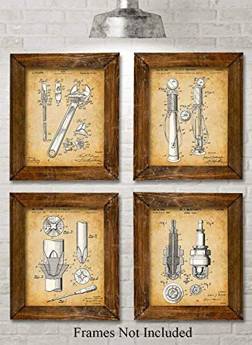 (Original Auto Mechanic Tools Patent Prints - Set of Four Photos (8x10) Unframed - Makes a Great Gift Under $20 for Car Lovers/Mechanics)