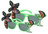 Flamingo Decor Sunglasses Tropical Tree Accessory for Luau Summer Party,Set of 2