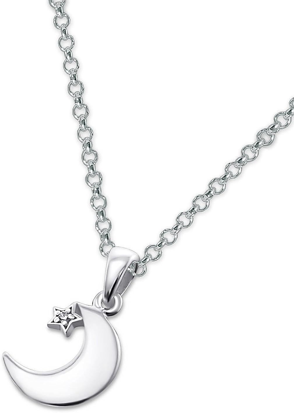 Laimons Colgantes con collar para mujer Luna y estrella Circonita Plata de ley 925