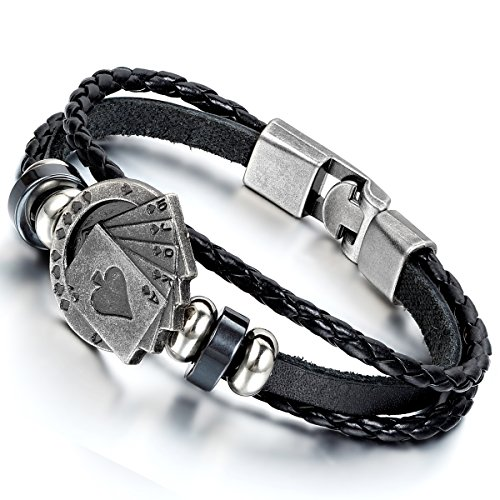 Flongo Unique Playing Leather Bracelet