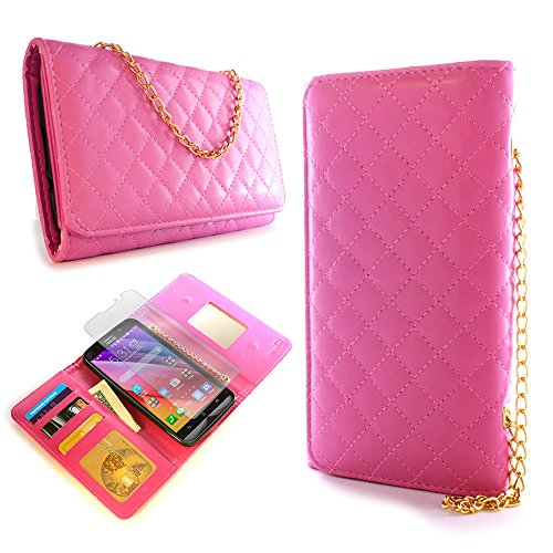 CoverON for Asus ZenFone 2 (5.5) Wallet Case [ClutchCase Series] Soft Flip Credit Card Phone Cover Purse Pouch - Hot Pink - with Clear Screen Protector ()