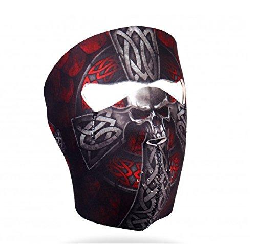 Red Grey Black Celtic Iron Cross Skull Full Face Reversible Neoprene Face Mask Adjustable Strap