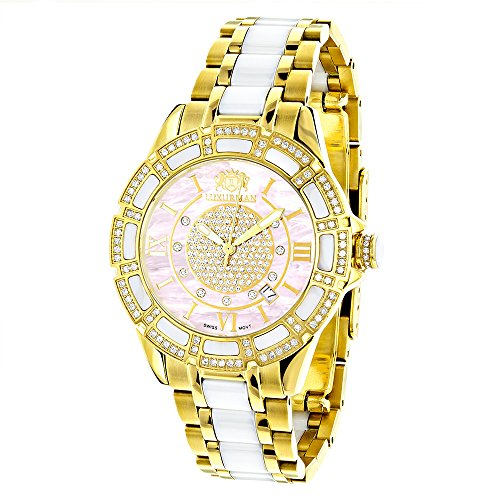 Ladies Diamond Watches 18k Yellow Gold Plated Stainless Steel White Ceramic Watch with Swiss Mvt Pink MOP