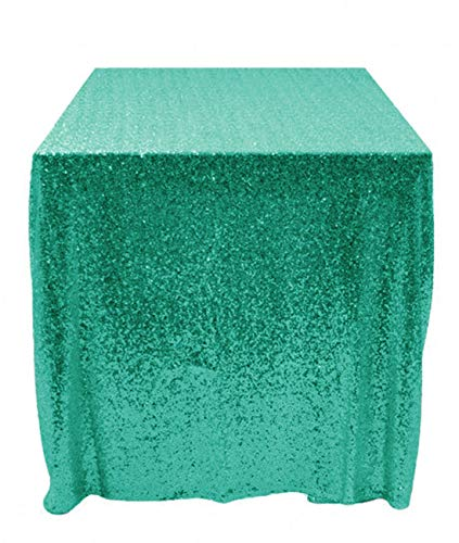 Sequin Tablecloth Green 120x120-Inch Square Table Cover Glitter Table Linen Christmas Green Table Cloths Sparkly Wedding Table Overlay (10FTx10FT) ~190508S