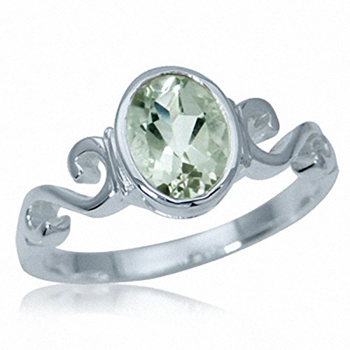 1.15 ct. Natural Green Amethyst 925 Sterling Silver Swirl Solitaire Ring Size 7 ()