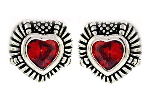 Designer Heart Earrings w/Garnet Solitaire CZ
