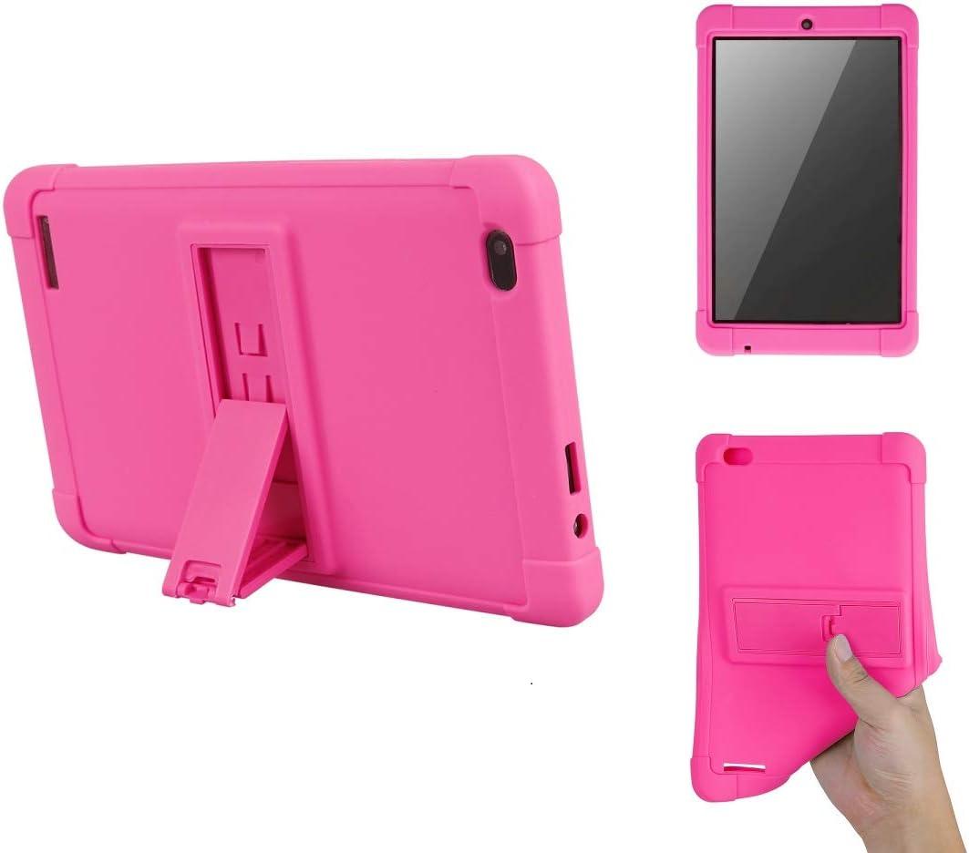 "Walmart Onn 10.1"" Case, [Kickstand] Shockproof Silicone Case Cover + PC Tablet Bracket for Onn 10.1"" Tablet (Rose Red)"