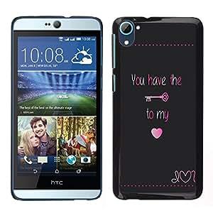 Stuss Case / Funda Carcasa protectora - Tener Clave Mi corazón bloquear texto de San Valentín; - HTC Desire D826