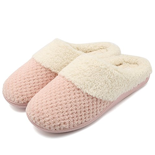 Plush Lining - Fantiny Women's Comfort Coral Fleece Memory Foam Slippers Plush Lining Slip-on Clog House Shoes Indoor & Outdoor-U118WMT004-pink-F-40-41