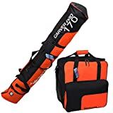 "HENRY BRUBAKER ""Superfunction"" Combo Ski Boot Bag and Ski Bag for 1 Pair of Ski up to 170 cm, Poles, Boots and Helmet - Black Orange"