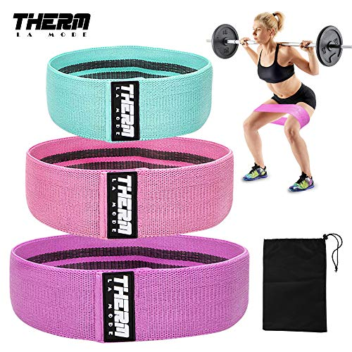 Therm La Mode Exercise Resistance Bands, Anti-Slip Booty Bands Exercise Loops for Leg and Butt Wide Sports-Fitness Elasticity Workout Bands Stretch Loops for Hip Squat Glute Training 3 Pack