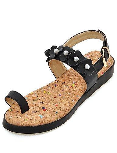 LFNLYX Zapatos de mujer-Tacón Plano-Comfort-Sandalias-Vestido / Casual / Fiesta y Noche-Semicuero-Negro / Azul / Rosa / Blanco Blue