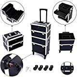 Mefeir 2-in-1 Rolling Makeup Train Case,4 Removable Travel Wheels w/Lockable Keys +Shoulder Strap,Aluminum Cosmetic Trolley Beauty Artist Organizer, for Mother Wife Girlfriend Daughter Stylist(Black)