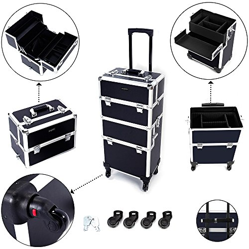 Mefeir 3-in-1 Rolling Makeup Train Case,4 Removable Travel Wheels w/Lockable Keys +Shoulder Strap,Aluminum Cosmetic Trolley Beauty Artist Organizer, Mother's Day Gift - Train Huge