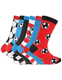 Childrens Boys Football & Stripe Pattern Casual Socks (Pack Of 6)