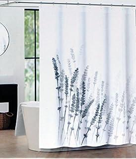 Tahari Fabric Shower Curtain Lavender Pattern Gray On White