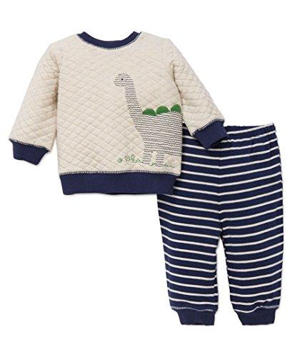 Little Me Baby Boys' 2 Piece Sweatshirt Set, Dino, Navy Stripe, 3M