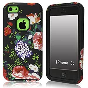 SUPWISER-08AKUAN 3-in-1 Hybrid Back Case Cover Fit For iPhone 5C with Stylus Pen,Screen Protector and Cleaning Cloth