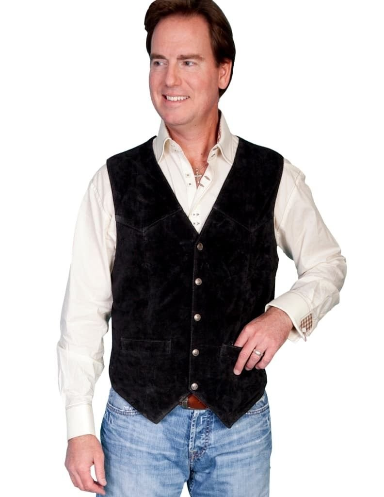 Scully Western Vest Mens Five Snap Leather 2XT Black Calf Suede 507