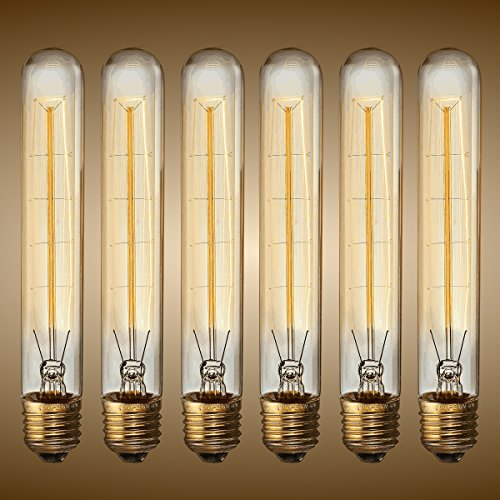 KINGSO Vintage Edison Bulbs 60W Tubular Nostalgic Filament Incandescent Antique Dimmable Light Bulb for Home Light Fixtures E27 Base T30 110V - 6 Pack (60w Edison Tubular Light Bulb compare prices)