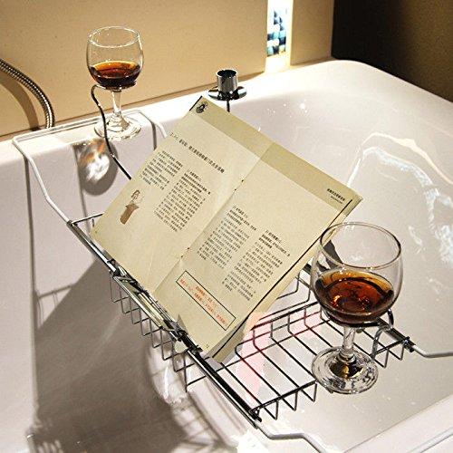 XENO-Bathtub Rack Tray Caddy Storage Bathroom Glass Candy Racks With Reading - Glasses Reading Dallas