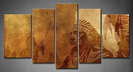 Bon 5 Panel Wall Art Brown Native American Chief Worriors On Horses Painting  The Picture Print On