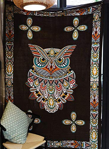 Psychedelic Owl Tapestry Black Owl Wall Decor Wall