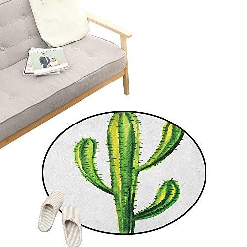 Cactus Round Rugs for Bedroom ,Mexican Hot Desert Cactus Flower Plant Botanic Design Nature Cartoon Like Print Image, Skid Resistant Rug Pet Pad 39