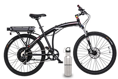 "Prodeco tech Phantom X2 V7 Folding Electric Bicycle, 26"", Black + Waterproof Battery Bag & Water Bottle"