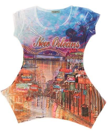 Sweet Gisele Womens New Orleans 3D Souvenir T Shirt Tunic w/Rhinestone Bling (XX-Large)
