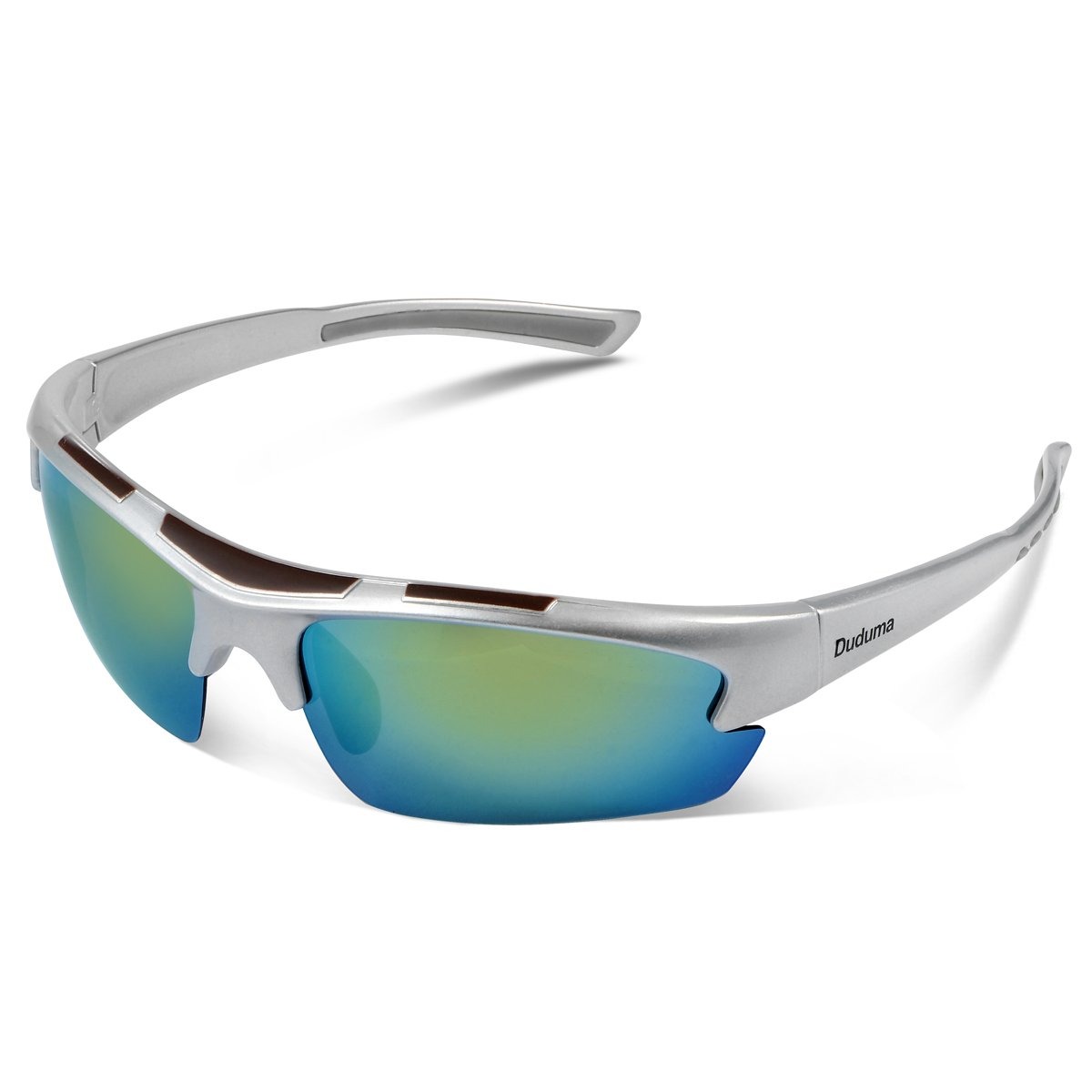 Duduma Polarized Designer Fashion Sports Sunglasses for Baseball Cycling Fishing Golf Tr62 Superlight Frame (Silver/Yellow) by Duduma