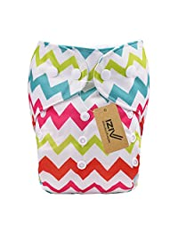 iZiv(TM) Newborn Organic with 1 Thick Insert Infant Waterproof/Adjustable/Reusable/Washable Pocket Cloth Diaper Fit Babies 0-3 Years (Color-4)