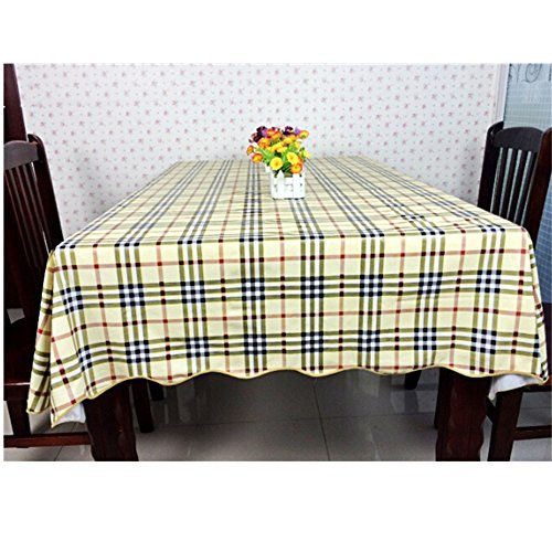 KAKA(TM) New Modern style PVC Waterproof Oil Dining Tablecloth Non-toxic Rectangle tablecloth tablecloth Restaurant Table Cover-Yellow Fang Gebo wave models