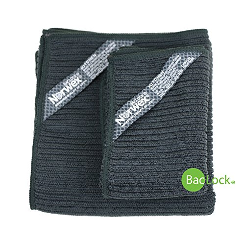 Norwex Antibacterial, Antimicrobial, Microfiber Kitchen Cloth & Kitchen Towel Set with BacLock in Charcoal by Norwex