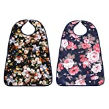 Baoblaze 2pcs Washable Large Adults Elders Mealtime Bib Protector Disability Aid Cook Dining Clothes Flower Print