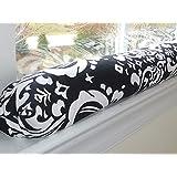 Draft Stopper - Damask Black White - Unfilled Window or Door Draft Stopper