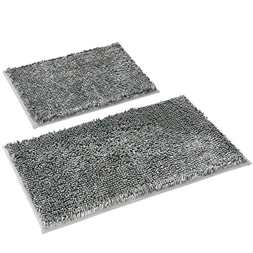 HOMEIDEAS Velvety-Soft Butter Chenille Bathroom Rugs Set 2 Pieces Silver Grey, 3X Absorbent Spa Shaggy Bath Rug Non Slip…