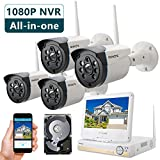 ONWOTE All-in-one 1080P HD NVR Wireless Home Security Camera System Outdoor with 10.1' LCD Monitor, 1TB Hard Drive, 4 80ft Night Vision Surveillance Camera, Plug n Play, Easy Remote Access