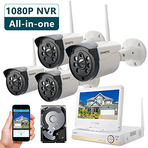ONWOTE All-in-one 1080P HD NVR Wireless Home Security Camera System Outdoor with 10.1″ LCD Monitor, 1TB Hard Drive, 4 80ft Night Vision Surveillance Camera, Plug n Play, Easy Remote Access