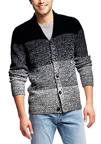 Coofandy Men's Shawl Collar Cardigan Sweater Button Front Assorted Color Knitwear