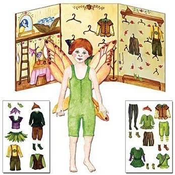 Press and Cling Clothing Closet Paper Doll Dress Up Toy Kit Red Head Boy Fairy Fynn
