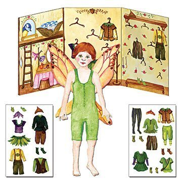 Paper Doll Dress Up Toy Kit, Red Head Boy Fairy Fynn, Press and Cling Clothing Closet by Enchantmints