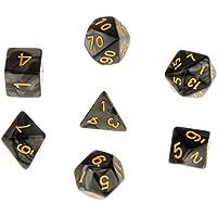 7pcs Juegos de Mesa Dados Multi Caras TRPG D4-D20 Patrón Perla con Puntitos Dorados - Negro