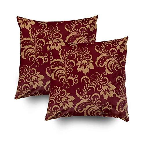 Musesh Christmas Pack of 2 Gold Floral Swirl Cushions Case Throw Pillow Cover for Sofa Home Decorative Pillowslip Gift Ideas Household Pillowcase Zippered Pillow Covers 16x16Inch (And Pillows Brown Throw Burgundy)