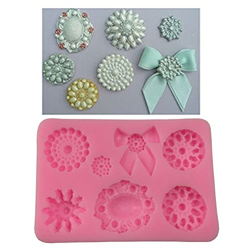 Pinaniu Mini Bows Silicone Mould Fondant Sugar Bow Craft Molds DIY Cake Decorating (Bow Brooch) -