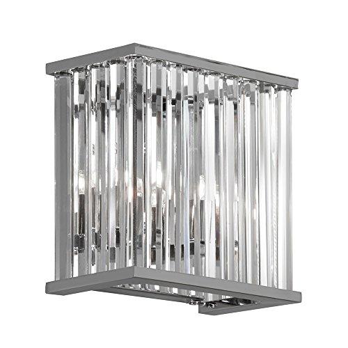 Dainolite Decorative 2 Light Crystal Wall Scone Polished Chrome Finish, new