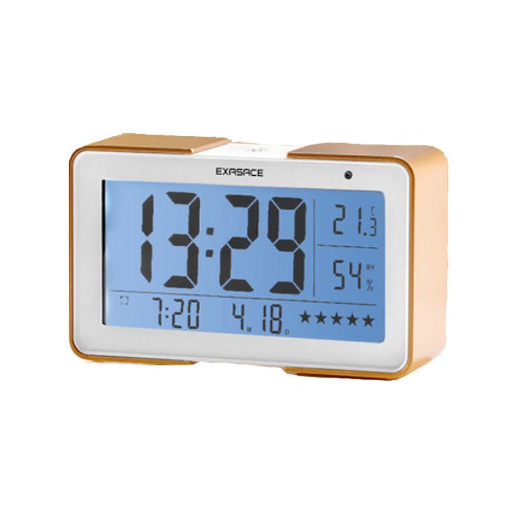 RUIX Thermo-Hygrometer Home Indoor Children's Alarm Clock,Gold