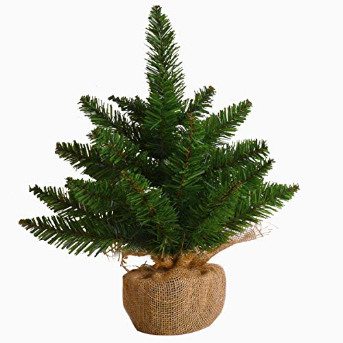 AUTOARK 18'' Christmas Tree Tabletop Artificial PVC Green Spruce Tree in Burlap Base,Best Home and Office Christmas Decorations,ACT-010