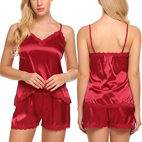 ADOME Womens Camisole Short Set 2 Pieces Satin Pajamas Irregular Chemise Sleepwear,Style 1:dark Red,XX-Large by ADOME